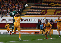 Toche wins the header in the air in the Motherwell v Panathinaikos UEFA Champions League 3rd Qualifying Round 1st Leg match at Fir Park, Motherwell on 31.7.12.