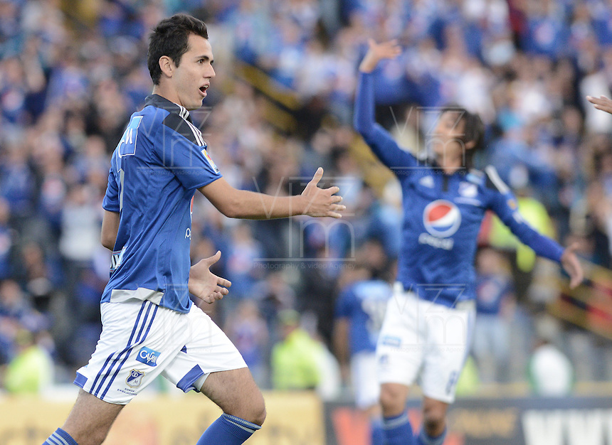 BOGOTA - COLOMBIA -07 -03-2015: Gabriel Diaz de Millonarios celebra un gol anotado a La Equidad durante partido por la fecha 8 de la Liga Águila I 2015 jugado en el estadio Nemesio Camacho El Campín de la ciudad de Bogotá /Gabriel Diaz of Millonarios celebrates a goal scored to La Equidad during the match for the 8th date of the Aguila League I 2015 played at Nemesio Camacho El Campin stadium in Bogotá city. Photo: VizzorImage / Gabriel Aponte / Staff.