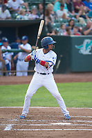 Ogden Raptors catcher Ramon Rodriguez (3) at bat during a Pioneer League game against the Great Falls Voyagers at Lindquist Field on August 23, 2018 in Ogden, Utah. The Ogden Raptors defeated the Great Falls Voyagers by a score of 8-7. (Zachary Lucy/Four Seam Images)