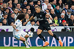 Kylian Mbappe (R) of Paris Saint Germain fights for the ball with Marcelo Vieira Da Silva of Real Madrid during the UEFA Champions League 2017-18 Round of 16 (1st leg) match between Real Madrid vs Paris Saint Germain at Estadio Santiago Bernabeu on February 14 2018 in Madrid, Spain. Photo by Diego Souto / Power Sport Images