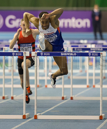 27.02.2016. EIS Sheffield, Sheffield, England. British Indoor Athletics Championships Day One. David Omoregie (Cardiff AAC) comes through to win his heat in the Men's 60m Hurdles in 7.69 seconds.