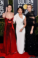 LOS ANGELES, CA. January 06, 2019: Phoebe Waller-Bridge, Sandra Oh &amp; Jodie Comer  at the 2019 Golden Globe Awards at the Beverly Hilton Hotel.<br /> Picture: Paul Smith/Featureflash