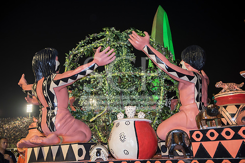 Imperatriz Leopolinense Samba School, Carnival, Rio de Janeiro, Brazil, 26th February 2017. The float showing Indians from the Xingu Indigenous Park in a celebration of life.