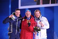 OLYMPICS: SOCHI: Medal Plaza, 09-02-2014, Alpine Skiing, Men's Downhill, Christof Innerhofer (ITA), Matthias Mayer (AUT), Kjetil Jansrud (NOR), ©photo Martin de Jong