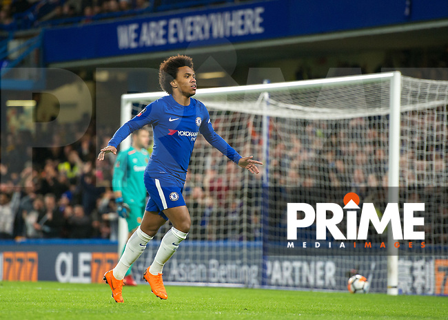 Willian of Chelsea celebrates scoring the opening goal during the FA Cup 5th round match between Chelsea and Hull City at Stamford Bridge, London, England on 16 February 2018. Photo by Vince  Mignott / PRiME Media Images.