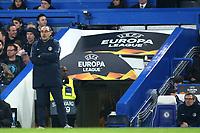 Chelsea Manager, Maurizio Sarri, anxiously looks on during Chelsea vs Malmo FF, UEFA Europa League Football at Stamford Bridge on 21st February 2019