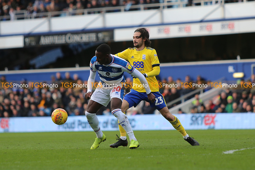 Bright Osayi-Samuel of QPR and Jota of Birmingham City during Queens Park Rangers vs Birmingham City, Sky Bet EFL Championship Football at Loftus Road Stadium on 9th February 2019