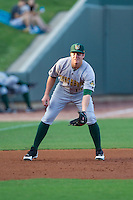 Lynchburg Hillcats third baseman Kevin Ahrens (17) on defense against the Winston-Salem Dash at BB&T Ballpark on August 13, 2014 in Winston-Salem, North Carolina.  The Hillcats defeated the Dash 4-3.   (Brian Westerholt/Four Seam Images)