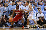 24 February 2015: NC State's Lennard Freeman (10) and North Carolina's Brice Johnson (right). The University of North Carolina Tar Heels played the North Carolina State University Wolfpack in an NCAA Division I Men's basketball game at the Dean E. Smith Center in Chapel Hill, North Carolina. NC State won the game 58-46.