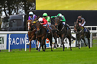 Caiya (green\white cap) makes a move to win The Byerley Stud EBF Fillies' Novice Stakes   during Bathwick Tyres Reduced Admission Race Day at Salisbury Racecourse on 9th October 2017