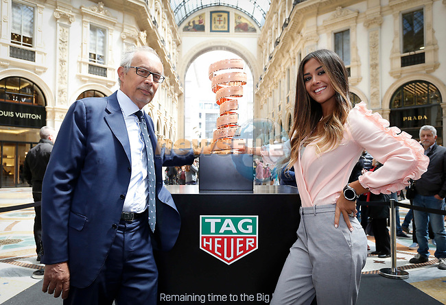 From today and for the next month fans and tourists can admire the Trofeo Senza Fine in Milan&rsquo;s Galleria Vittorio Emanuele II. The trophy for the winner of the Giro d&rsquo;Italia was unveiled in the gallery by the event&rsquo;s Madrina Giorgia Palmas and TAG Heuer Italy General Manager - Roberto Beccari during the inaugural ceremony. Milan, Italy. 28th April 2017.<br /> Picture: LaPresse | Cyclefile<br /> <br /> <br /> All photos usage must carry mandatory copyright credit (&copy; Cyclefile | LaPresse)