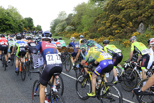 The peloton on the first Cat 3 climb Loughcrew during Stage 1 of the 2017 An Post Ras running 146.1km from Dublin Castle to Longford, Ireland. 21st May 2017.<br /> Picture: Eoin Clarke | Cyclefile<br /> <br /> <br /> All photos usage must carry mandatory copyright credit (&copy; Cyclefile | Eoin Clarke)