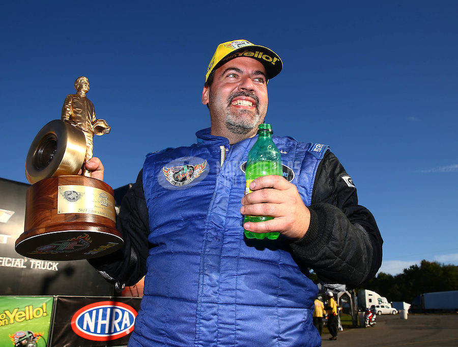 Oct 4, 2015; Mohnton, PA, USA; NHRA pro stock driver Chris McGaha celebrates after winning the Keystone Nationals at Maple Grove Raceway. Mandatory Credit: Mark J. Rebilas-USA TODAY Sports