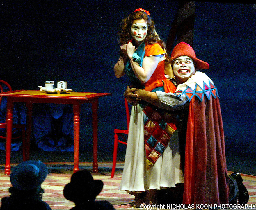 2004 - PAGLIACCI - Columbine (Sally Dibblee) and and Taddeo (Donnie Ray Albert) perform in Opera Pacific's production of Pagliacci.