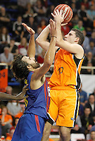 Mad-Croc Fuenlabrada's Quino Colom (r) and FC Barcelona Regal's Victor Sada during Liga Endesa ACB match.November 18,2012. (ALTERPHOTOS/Acero) NortePhoto