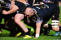 Matt Garvey of Bath Rugby in action at a scrum. European Rugby Challenge Cup match, between Bath Rugby and Bristol Rugby on October 20, 2016 at the Recreation Ground in Bath, England. Photo by: Patrick Khachfe / Onside Images