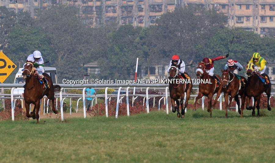 "Mumbai, India-05/02/2012: MARTIN DWYER WINS SIGNATURE PREMIUM INDIAN DERBY.With the weather forcing the postponement of several races in Britain, Liverpool-born Martin Dwyer's decision to ply his trade in India was a wise one..Riding on ""In The Spotlight"", the jockey won the 60th Indian Derby run at the Royal Western India Turf Club,Mumbai..Already successful in the Calcutta Oaks, 1,000 Guineas and Calcutta Derby under Dwyer, In The Spotlight stamped her class on India's premier Classic, routing a high-class field by upwards of seven lengths...Mandatory Photo Credit: ©Vipin Pawar-SolarisImages/NEWSPIX INTERNATIONAL..**ALL FEES PAYABLE TO: ""NEWSPIX INTERNATIONAL""**..PHOTO CREDIT MANDATORY!!: NEWSPIX INTERNATIONAL(Failure to credit will incur a surcharge of 100% of reproduction fees)..IMMEDIATE CONFIRMATION OF USAGE REQUIRED:.Newspix International, 31 Chinnery Hill, Bishop's Stortford, ENGLAND CM23 3PS.Tel:+441279 324672  ; Fax: +441279656877.Mobile:  0777568 1153.e-mail: info@newspixinternational.co.uk"