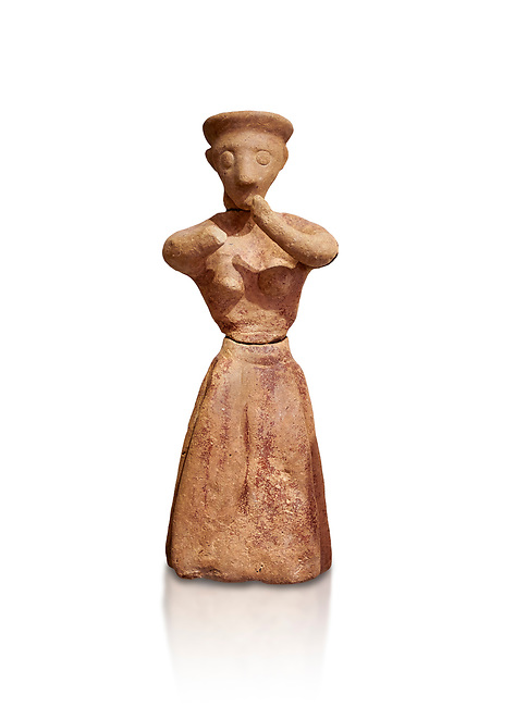 Minoan clay female figurine in the attitude of worship, Chamezi 1900-1700 BC; Heraklion Archaeological  Museum, white background.