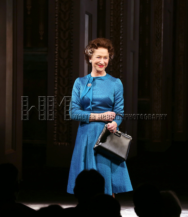 Helen Mirren takes a bow during curtain call for the Broadway Opening night of 'The Audience' at the Gerald Schoenfeld Theatre on March 8, 2015 in New York City.