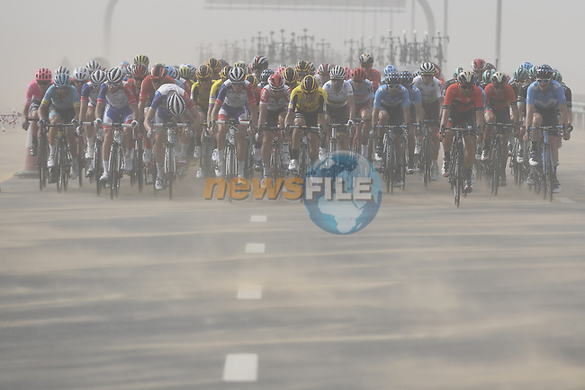 The peloton ride through the desert in crosswinds during Stage 4 of the 2019 UAE Tour, running 197km form The Pointe Palm Jumeirah to Hatta Dam, Dubai, United Arab Emirates. 26th February 2019.<br /> Picture: LaPresse/Fabio Ferrari | Cyclefile<br /> <br /> <br /> All photos usage must carry mandatory copyright credit (© Cyclefile | LaPresse/Fabio Ferrari)