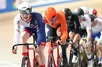 Picture by SWpix.com - 02/03/2018 - Cycling - 2018 UCI Track Cycling World Championships, Day 3 - Omnisport, Apeldoorn, Netherlands - Men's Points Race - Mark Stewart  of Great Britain and Jan Willem van Schip of The Netherlands