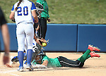Reed catcher Ryia Grant tags out Rancho's Toare Lee during NIAA DI softball action at the University of Nevada, in Reno, Nev., on Thursday, May 19, 2016. Cathleen Allison/Las Vegas Review-Journal