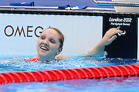 PICTURE BY ALEX BROADWAY /SWPIX.COM - 2012 London Paralympic Games - Day Seven - Swimming, Aquatic Centre, Olympic Park, London, England - 05/09/12 - Charlotte Henshaw of Great Britain reacts after the Women's 100m Breaststroke SB6 Final.