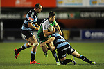 Connacht's Darragh Leader is tackled by Cardiff Blues' Joaquin Tuculet<br /> Guiness Pro12<br /> Cardiff Blue v Connacht<br /> BT Sport Cardiff Arms Park<br /> 06.03.15<br /> &copy;Ian Cook -SPORTINGWALES