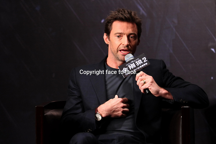 Austrilian actor Hugh Jackman attends press conference of film The Wolverine 2 in Beijing,China on Monday Oct 14,2013.<br />