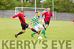 In Action Dynamos Jonathan Burrows and CelticsBryan Murphy  at  the Denny Premier A League Final Tralee Dynamos against Listowel Celtic AFC at Mounthawk Park on Sunday