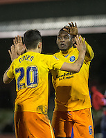Aaron Pierre of Wycombe Wanderers & Luke O'Nien of Wycombe Wanderers at the final whistle during the Sky Bet League 2 match between Dagenham and Redbridge and Wycombe Wanderers at the London Borough of Barking and Dagenham Stadium, London, England on 9 February 2016. Photo by Andy Rowland.