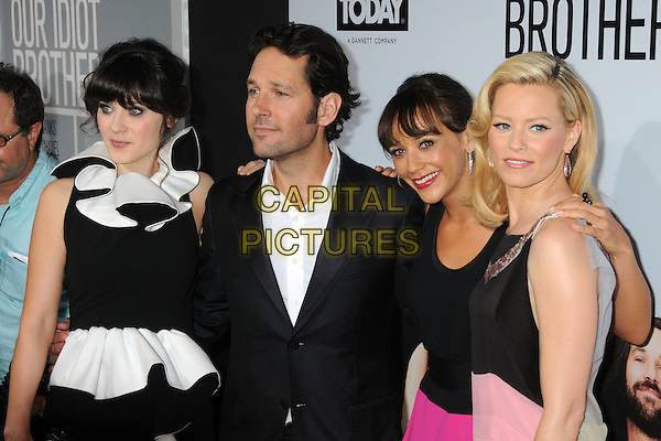 "Zooey Deschanel, Paul Rudd, Rashida Jones and Elizabeth Banks.""Our Idiot Brother"" Los Angeles Premiere held at Arclight Cinemas, Hollywood, California, USA..August 16th, 2011.half length black white ruffle sleeveless dress shirt suit jacket side.CAP/ADM/BP.©Byron Purvis/AdMedia/Capital Pictures."