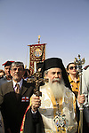 Feast of Theophany in Qasr al Yahud, Greek Orthodox Patriarch Theophilus III of Jerusalem at the procession to the Jordan River