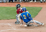 MIDDLETOWN, CT. 06 June 2018-060618BS506 - Seymour's Jake Todice (3) slides safely across the plate scoring a run during the CIAC Tournament Class M Semi-Final baseball game between Seymour and St Joseph at Palmer Field on Wednesday evening. Seymour beat St Joseph 8-0 and will play Wolcott for the Class M championship on Saturday. Bill Shettle Republican-American