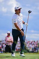 Hideki Matsuyama (JPN) watches his tee shot on 7 during Sunday's round 4 of the 117th U.S. Open, at Erin Hills, Erin, Wisconsin. 6/18/2017.<br /> Picture: Golffile | Ken Murray<br /> <br /> <br /> All photo usage must carry mandatory copyright credit (&copy; Golffile | Ken Murray)