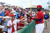Philadelphia Phillies Ryan Howard (6) signs autographs before a Spring Training game against the New York Yankees on March 27, 2015 at Bright House Field in Clearwater, Florida.  New York defeated Philadelphia 10-0.  (Mike Janes/Four Seam Images)