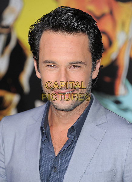 Rodrigo Santoro.The World Premiere of 'The Last Stand' at The Grauman's Chinese Theater in Hollywood, California, USA..January 14th, 2013.headshot portrait suit blue grey gray stubble facial hair .CAP/DVS.©DVS/Capital Pictures.