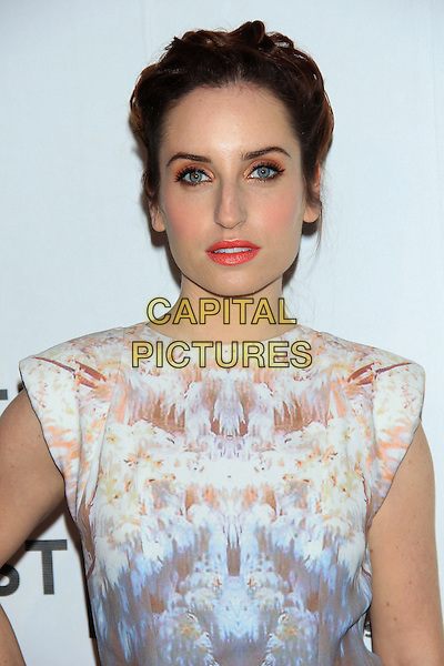 "Zoe Lister-Jones.The 2012 Tribeca Film Festival World Premiere of ""Lola Versus"" at the Tribeca Performing Arts Center, New York, NY, USA..April 24th, 2012.headshot portrait white beige print pink lipstick .CAP/LNC/TOM.©LNC/Capital Pictures."