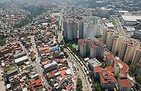 Rich and poor Santa Fe and Bosques neighborhoods in Mexico City. Aerial photographs of Mexico city and the Estado de Mexico, Mexico