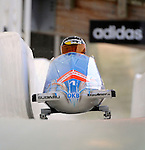 15 December 2007: Germany 1 pilot Sandra Kiriasis, with Romy Logsch on the brakes, head down the straightaway towards Turn 16 during their second run of the FIBT World Cup Bobsled Competition at the Olympic Sports Complex on Mount Van Hoevenberg, at Lake Placid, New York, USA. Germany 1 took the Gold Medal for their first place finish at the event...Mandatory Photo Credit: Ed Wolfstein Photo