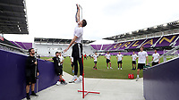 Orlando, Florida - Friday January 12, 2018: Vertical Leap test. The 2018 adidas MLS Player Combine Skills Testing was held Orlando City Stadium.