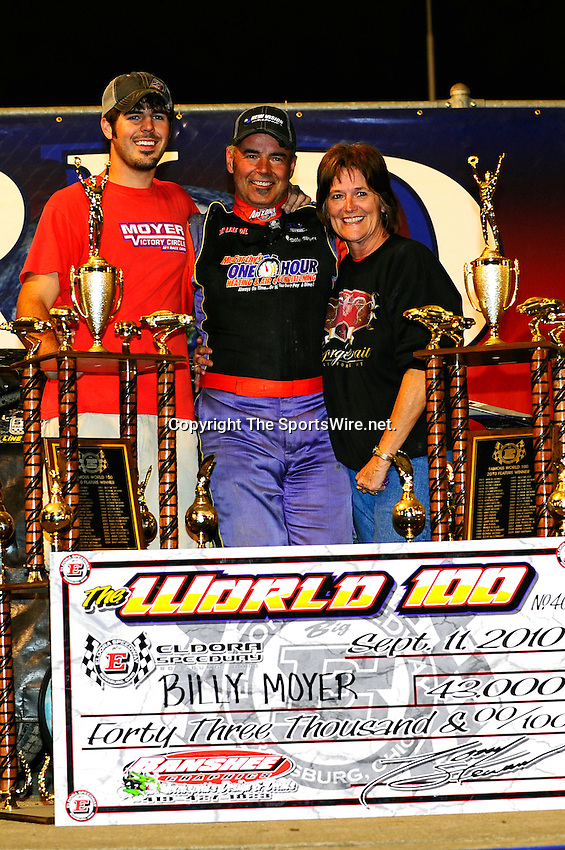 Sep 12, 2010; 1:03:13 AM; Rossburg, OH., USA; The 40th annual running of the World 100 Dirt Late Models racing for the Globe trophy at the Eldora Speedway.  Mandatory Credit: (thesportswire.net)
