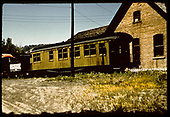 RGS business car #B-20 &quot;Edna&quot; abandoned at Ridgway office building in poor condition.<br /> RGS  Ridgway, CO  Taken by Jackson, Richard B. - 8/11/1952