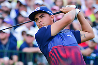 Rickie Fowler (USA) watches his tee shot on 1 during Saturday's round 3 of the 117th U.S. Open, at Erin Hills, Erin, Wisconsin. 6/17/2017.<br /> Picture: Golffile | Ken Murray<br /> <br /> <br /> All photo usage must carry mandatory copyright credit (&copy; Golffile | Ken Murray)