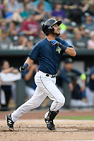 Third baseman Rigoberto Terrazas (9) of the Columbia Fireflies in a game against the Greenville Drive on Saturday, May 26, 2018, at Spirit Communications Park in Columbia, South Carolina. Columbia won, 9-2. (Tom Priddy/Four Seam Images)