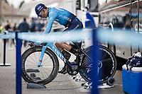 Nairo Quintana (COL/Movistar) warming up for Stage 5 (ITT): Barbentane to Barbentane (25km)<br /> 77th Paris - Nice 2019 (2.UWT)<br /> <br /> ©kramon