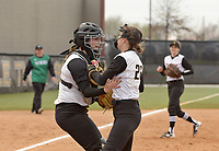 NWA Democrat-Gazette/BEN GOFF @NWABENGOFF<br /> Haley Cornell, Bentonville catcher congratulates pitcher Madison Prough after Prough caught out a Van Buren batter Thursday, March 16, 2017, during the softball game at Bentonville's Tiger Athletic Complex.