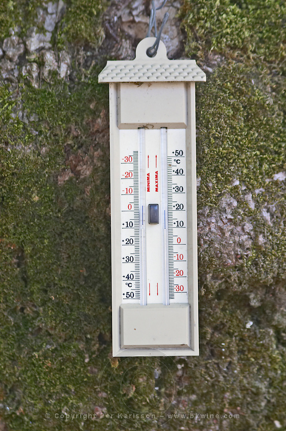 Min max thermometer. Chateau Clos Fourtet, Saint Emilion, Bordeaux, France