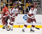 Alex Meintel (Harvard - 21), Dylan Reese (Harvard - 2) - The Northeastern University Huskies defeated the Harvard University Crimson 3-1 in the Beanpot consolation game on Monday, February 12, 2007, at TD Banknorth Garden in Boston, Massachusetts.