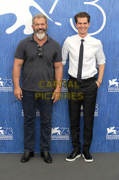 VENICE, ITALY - SEPTEMBER 4: Mel Gibson and Andrew Garfield attend a photo call for Hacksaw Ridge during the 73rd Venice Film Festival on September 4, 2016 in Venice, Italy.<br /> CAP/BEL<br /> &copy;BEL/Capital Pictures